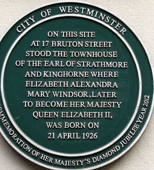 Plaque at Queen's birthplace