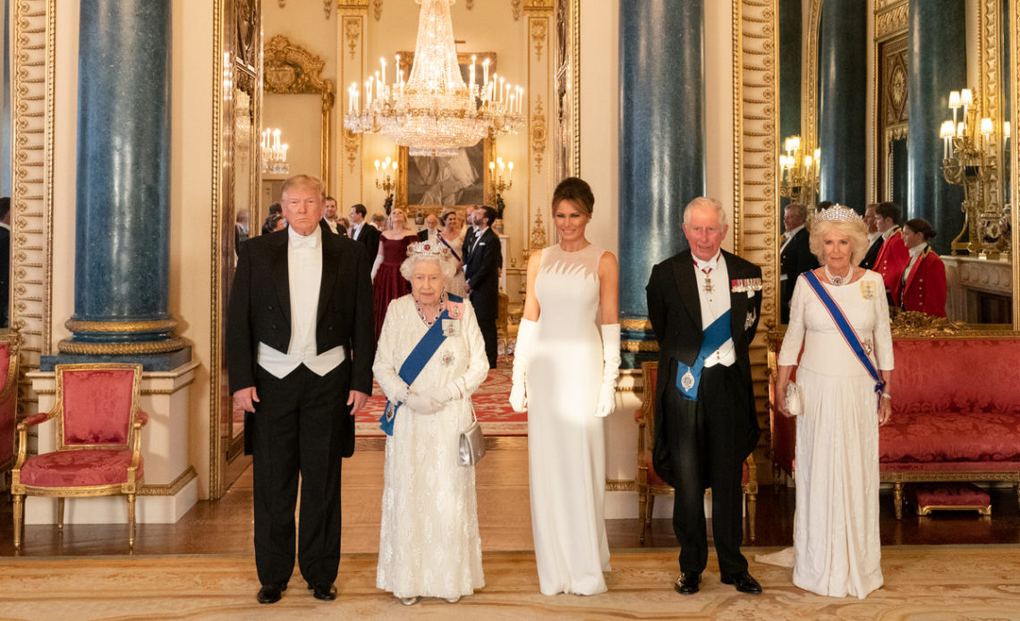 The Queen, the Prince of Wales, the Duchess of Cornwall, Donald and Melania Trump