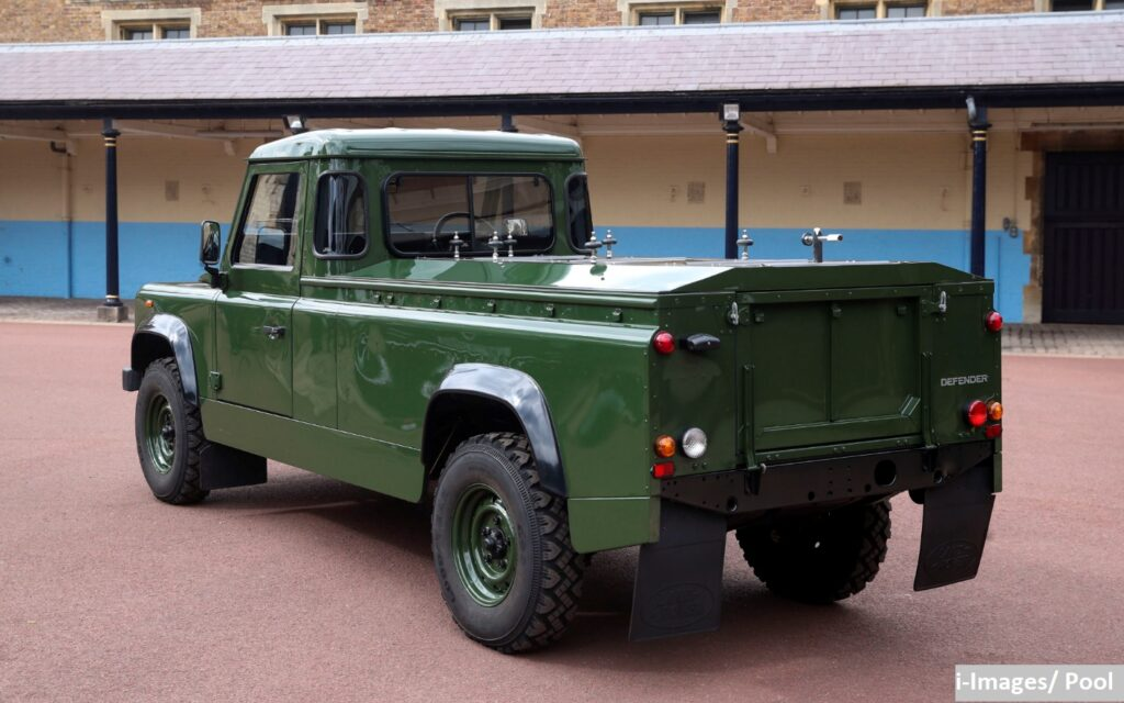 The dark green Land Rover designed by Prince Philip to carry his coffin