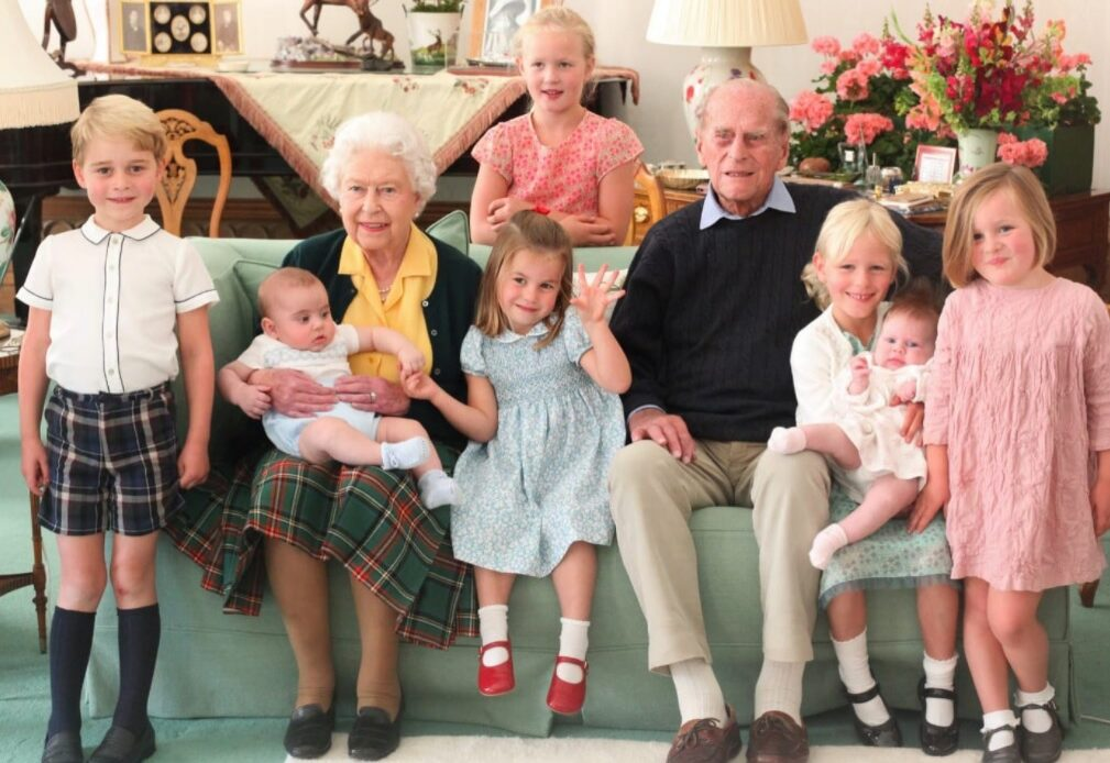 The Queen and the Duke of Edinburgh with their great grandchildren