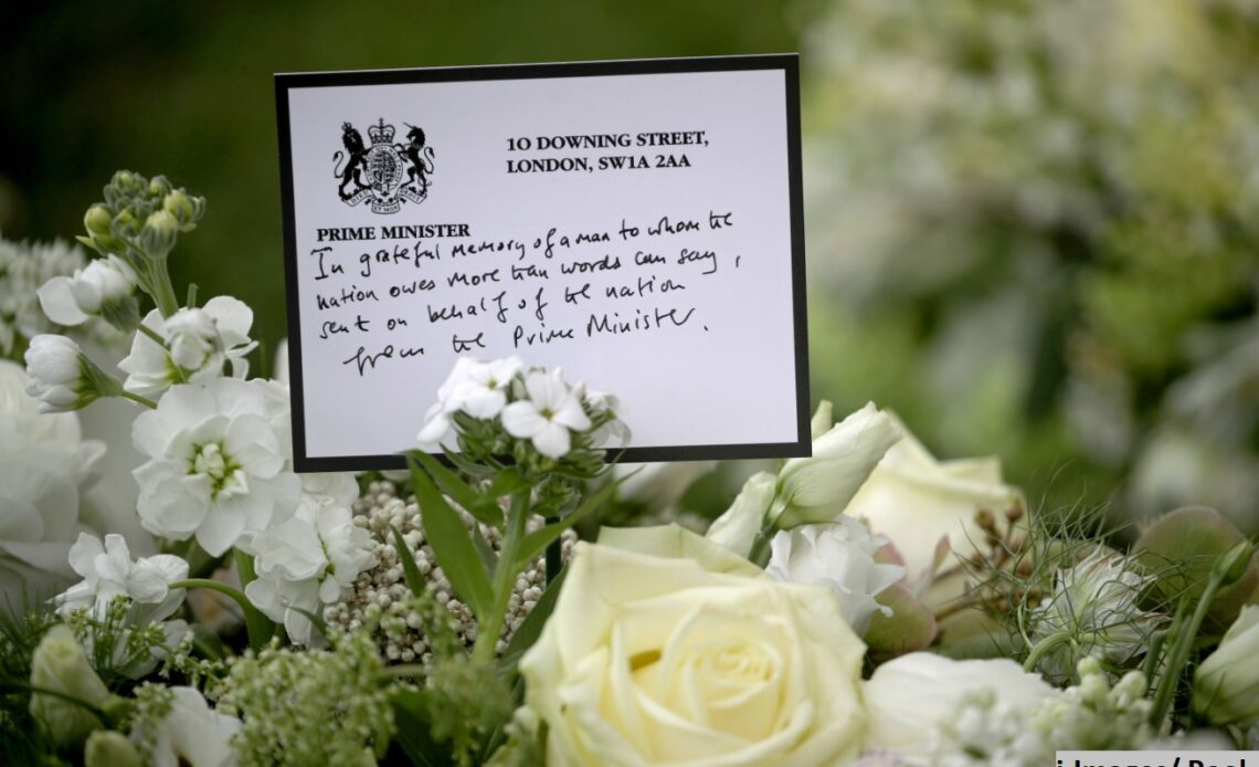 The wreath sent by Boris Johnson to the funeral of the Duke of Edinburgh