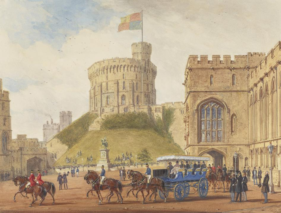 Joseph Nash, Queen Victoria driving out with Louis-Philippe from the Quadrangle, Windsor Castle, 1844