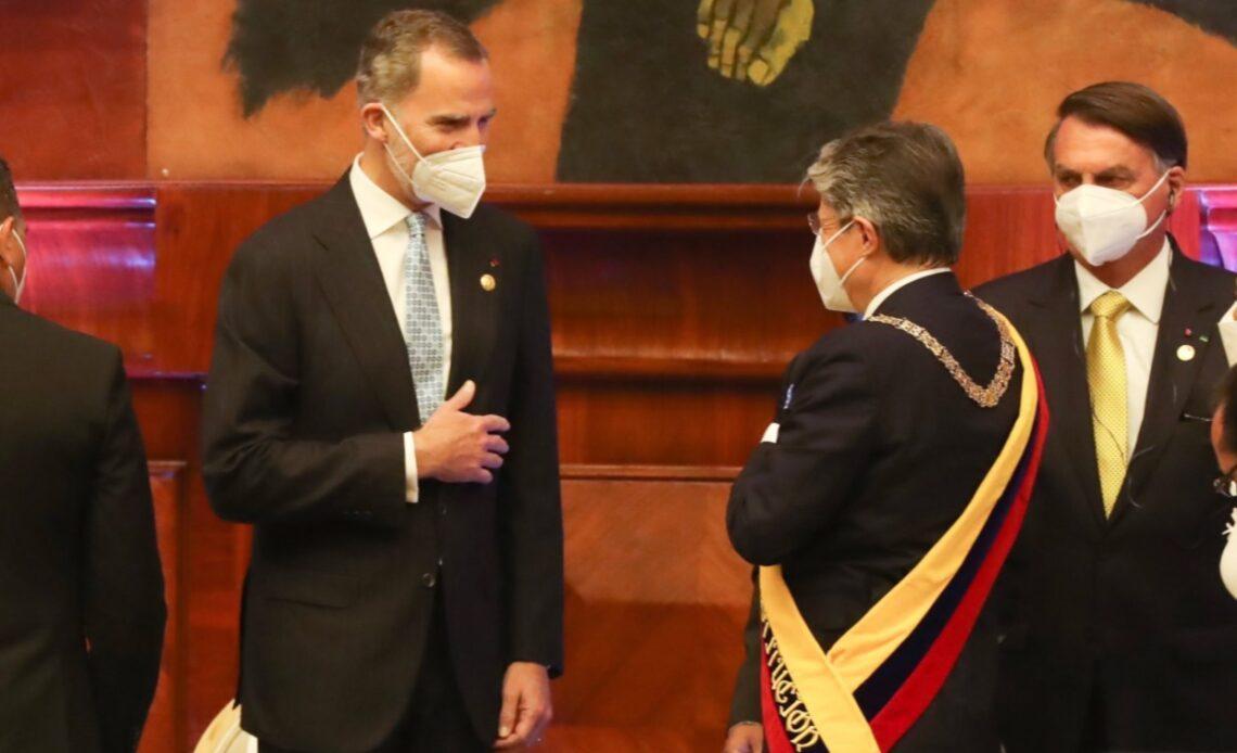 King Felipe of Spain with the new president of Ecuador