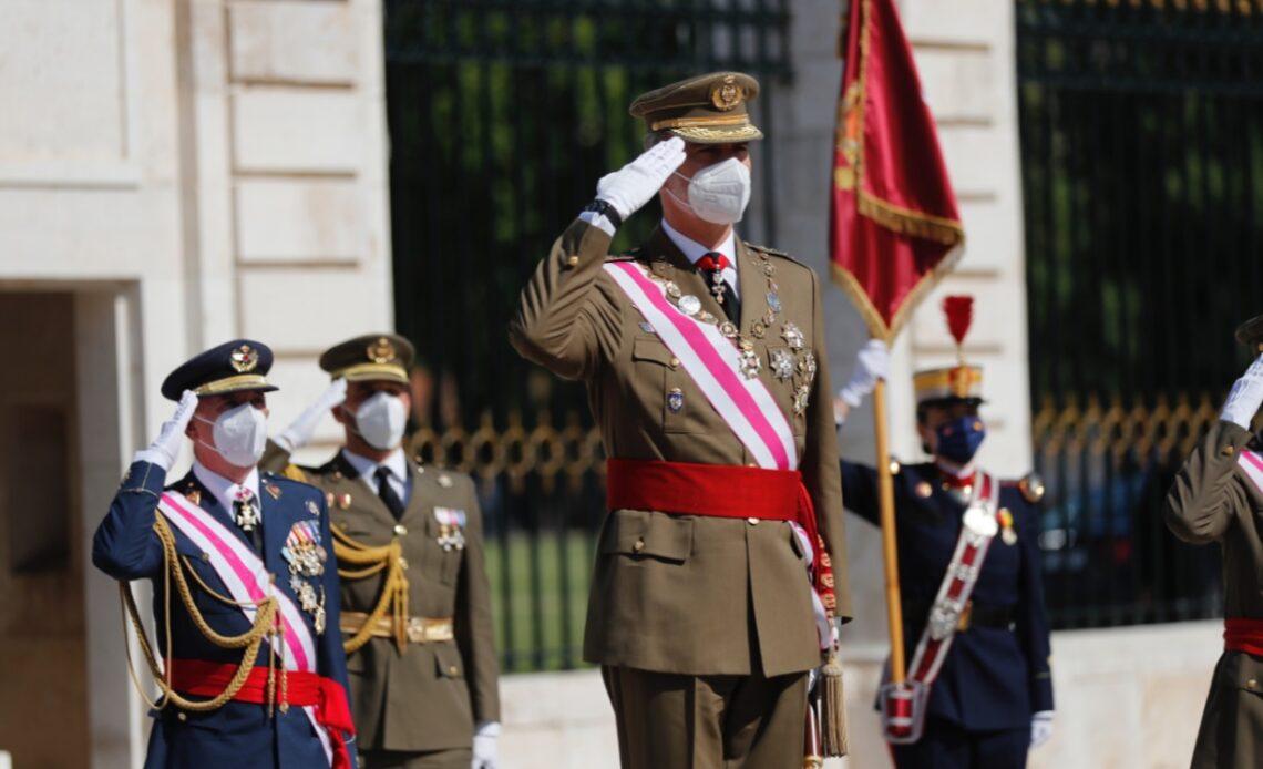 King Felipe takes salute