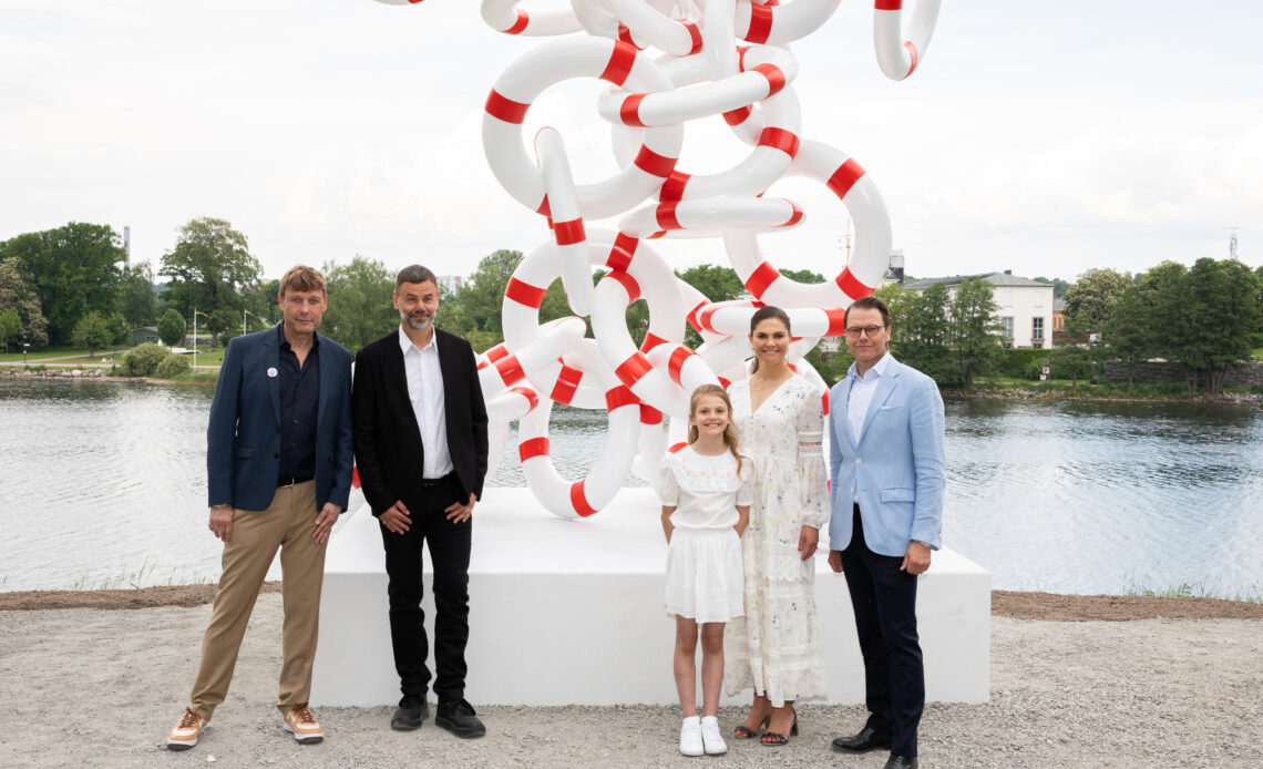 Princess Estelle visits a new sculpture at a culture park dedicated to her