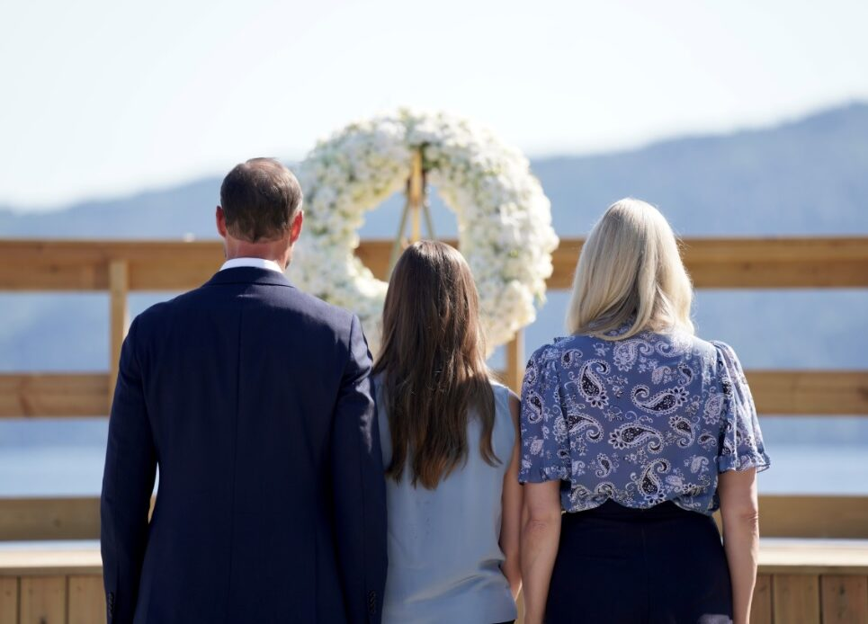 Crown Prince Haakon, Crown Princess Mette-Marit and Princess Ingrid Alexandra pay tribute to those killed in the Utoya terror attack on the tenth anniversary
